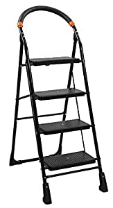 uberlyfe Blyssware Iron 4 Steps Foldable Ladder for Home Use, Black