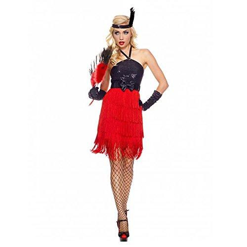 20er Jahre Damen Kostüm Charleston Schwarz/Rot Flapper Verkleidung Gatsby, (Flapper Kleid Gatsby Kostüm)