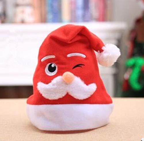 DDPP Erwachsenenweihnachtsfut Maschine Bestickt Weißen Bart Santa Claus Cartoon Hut Weihnachten Dekoration,2