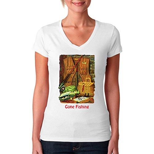 Fun Sprüche Girlie V-Neck Shirt - Gone Fishing - Anglerausrüstung by Im-Shirt Weiß