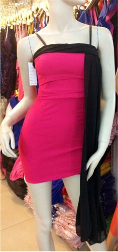 QIYUN.Z Contraste Couleur Robe Bustier Robe Courte Clubwear Changement Ballon Femmes Clubwear Nuit Robe Rose