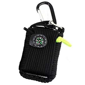 Kit de survie d'urgence, 29 en 1 Ensembles de premiers soins de la grenade Paracord Mini-sifflet Ensemble de démarrage du pompier Survival Baits Compass(Noir)