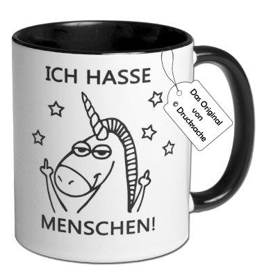 """Spruchtasse Einhorntasse Kaffeebecher Frühstück Henkelbecher Tasse mit Spruch Büro Tasse mit Aufdruck Einhorn """"ICH HASSE MENSCHEN!"""""""