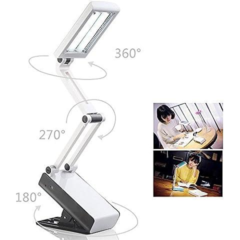 BestFire Lámpara de escritorio portátil LED de protección para los ojos (2 en 1: Stand on Own / Clip en todas partes, plegable, recargable, 2 brillo Set, blanco, 22 LED) Lámpara de mesa de lectura para estudio, trabajo, viajes al aire libre