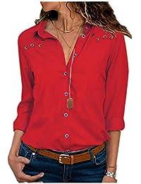 Heeecgoods Estilo de la Moda Camisa de Manga Larga de Color Puro para Mujer Camisa de