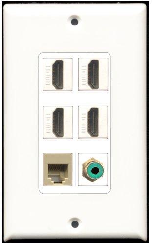 RiteAV-4-Port, HDMI, 1RCA RJ11, RJ12, beige Wall Plate Dekorative 1, grün 4 Port, Single Gang Keystone