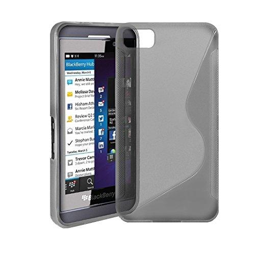 G-HUB® - BlackBerry Z10 Protective Fleixible Soft Gel Case - Silicon Phone Cover / HandyTasche / Schutzhülle / Gel Hülle Schütz in TRANSPARENT-SCHWARZ -