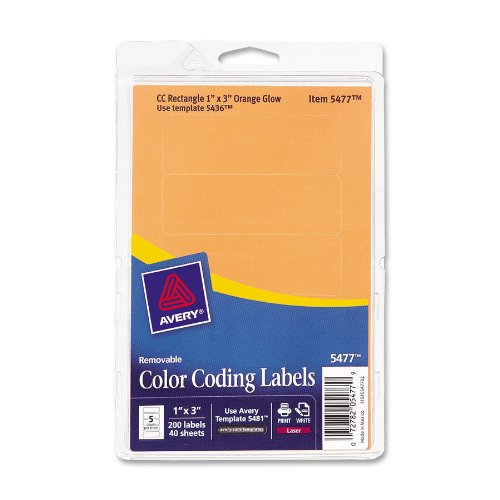 Print or Write Removable Color-Coding Laser Labels, 1 x 3, Neon Orange, 200/Pack - Neon Laser Etichette