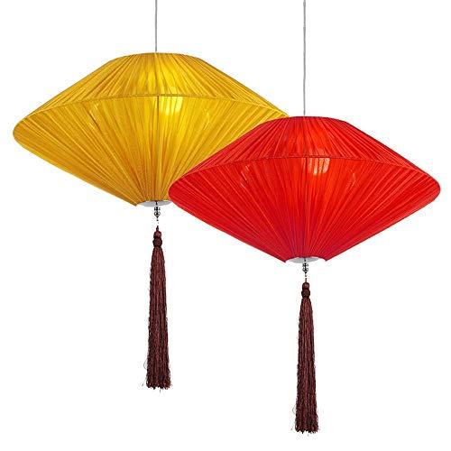 Antik Stil Laterne (CHENYANG86 Vintage Kronleuchter - handgewebter runder Stoff im chinesischen Stil Home Classic Teehaus Laterne Antik dekoratives Licht (Color : Yellow-Diameter50cm))