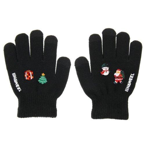 Weihnachten Handschuhe, haweel® Drei Finger Touchscreen Handschuhe DIY Weihnachten Dekoration Handschuhe für Smartphones & Tablets, Weihnachten Dekoration zufällige Lieferung 4Stk schwarz schwarz Für (Handschuhe Weihnachten)