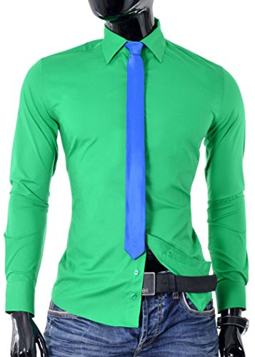 Camicia Moda Italiana Design D&R Fashion con il legame Slim Fit riunioni Verde
