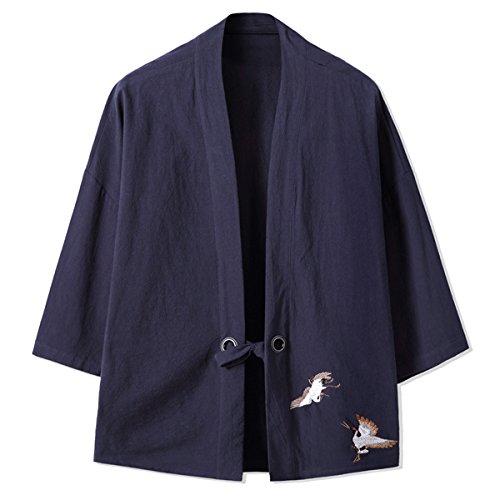 Mirecoo Herren Baumwolle Haori V-Kragen Kimono-Jacke Schwarzblau
