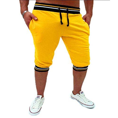 Men's Home Knee Length Slim Casual Shorts yellow