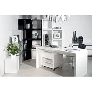 KARE white club bureau blanc brillant 180 x 85 + à roulettes
