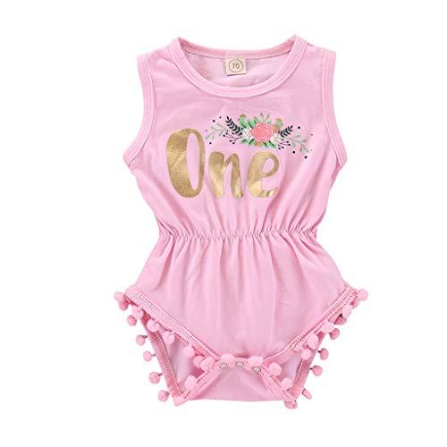 Knowin Babykleidung Mädchen Sommer 2019 Ärmellose Quasten mit BlumenbuchstabenNeugeborenes Säugling Baby Mädchen Strampler Rückkreuzung Jumpsuit Bodysuit Outfits Overall