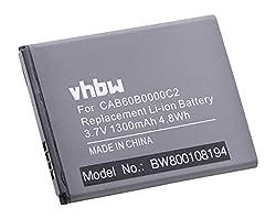 vhbw Li-Ion Akku 1300mAh (3.7V) für Handy Smartphone Telefon Alcatel One Touch OT-4030, OT-4030D, OT-4030X wie CAB60B0000C2, CAB60B0001C2, TLiB50B.