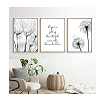 Mulmf Dandelion Painting Black White Posters and Prints Minimalist Poster Landscape Wall Art Living Room Pictures- 50X70Cmx3Pcs No Framed