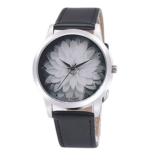 YunYoud Mode Blume Leder Analog Quarz Vogue Armbanduhr damenuhren Uhr Uhren schmuck Silber damenarmbanduhren armbanduhren Gold Damen armbanduhrgünstig lederarmband automatikuhr