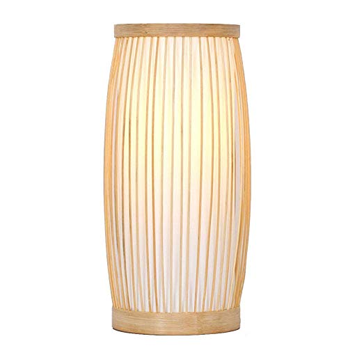 MOUTALE Handgemachte Rattan Lampenschirm Tischlampe, Anhänger oder Tisch Schatten, Wohnzimmer Schlafzimmer Restaurant Hotel Dekoration Bambus Kunst Tischlampe natürliche Bambus Holz Farbe - Schlafzimmer-rattan-tisch