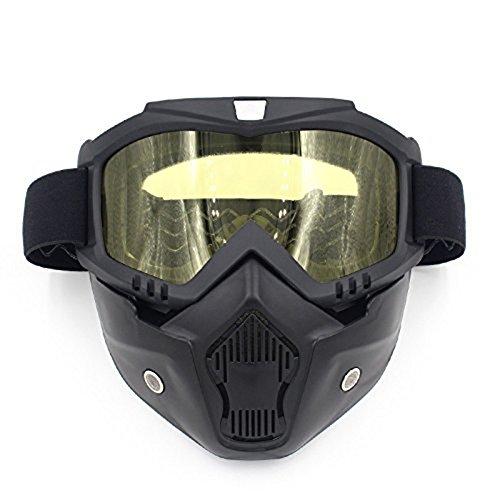 GZQ Motorradbrille mit abnehmbarer Maske, UV400 Sicherheitsbrille für Helm, winddicht, staubdicht, Motocross, Motorrad, für Schnee, zum Skifahren, Radfahren, Klettern, Reiten, Outdoor-Sport, gelb (Ski-helme Brennen)