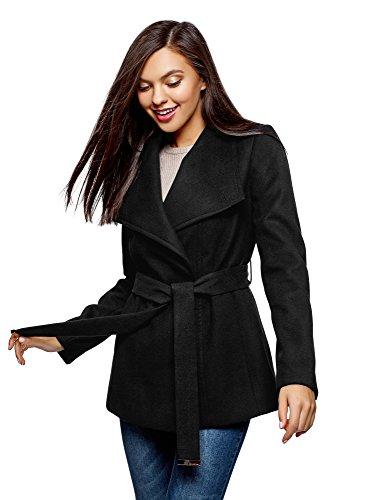 oodji Ultra Damen Mantel mit Asymmetrischem Verschluss und Weichem Gürtel, Schwarz, DE 42 / EU 44 / XL