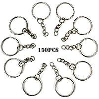 RUBY - 150 Anillas para llavero con cadena, bases de llaveros para artesanía (Plateado, Ø 25mm)