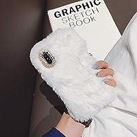 Yobby Süß Weich Haare Handyhülle für Samsung Galaxy J7 2017/J730, Pelz Hülle,Winter Warm Flauschig Faux Hase Plüsch Schutzhülle Stoßfest mit Handgefertigt Bling Kristall Strass-Solide Weiß