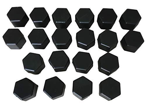 WeberAutozubehör Lot de 20 boulons de Roue en Caoutchouc pour Voiture Noir Largeur de clé 17 19 21