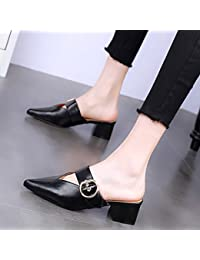 KPHY-Verano 5 Cm Zapatos De Tacon Alto Moda Rough Heels Zapatillas Sexy Baotou Desgaste Salvaje Medio Y Hembra...