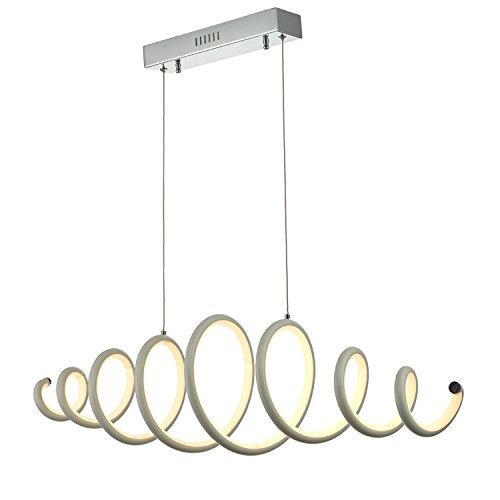 N3 Lighting Moderne Design LED Pendelleuchte, Esstischleuchte höhenverstellbar - Hängelampe Dimmbar Stufenlos - LED Pendellampe für Esszimmer-Lampe (Hängeleuchte, Esstisch, Chrome, 56 Watt, Warmweiß) - 3