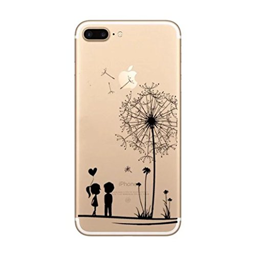 Custodia iPhone 7, Yoowei® Divertente Motivo Design Colorato Cristallo Trasparente Ultra Sottile Morbido TPU Gel Case Cover per iPhone 7 4.7 (Aeroplano di carta) Lover under the dandelion