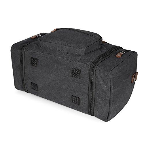 Plambag Segeltuch Unisex Handgepäck Reisetasche Sporttasche Größere Version Laptop Weekend Urlaub Tasche 50 Liter Updated (Grau) Dunkel Grau