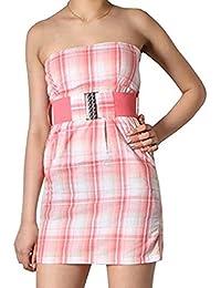 Freshmade Sommer Bandeau Kleid +Gürtel Gr.L Minikleid Strandkleid trägerlos rosa