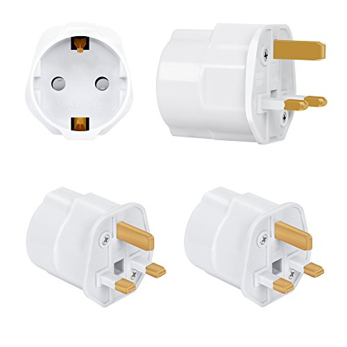 Incutex 2x Reisestecker UK GB England Travel Adapter EU Schuko 2-Pin auf UK 3-Pin Reise Steckdosenadapter Weiß