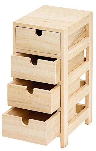 Preisvergleich Produktbild Schubladenturm mit 4 Schüben, Kommode Holzkommode Aufbewahrung