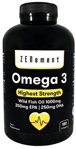 Omega-3 Huile de poisson sauvage | 1000 mg x 180 capsules | Concentration maximale: 35% EPA + 25% DHA | Il favorise la santé cardiovasculaire, réduit l'inflammation et les douleurs articulaires, et améliore le fonctionnement cérébral | 100% naturel, sans gluten, sans conservateurs ni colorants, sans OGM, GMP, Fabriqué en Europe | de Zenement