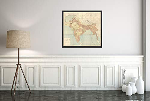 1915 India and angrenzende Länder Shows Area from Ireland in The West to Thailand in The East.Hindi Antique Vintage Antique Wall Map, 55,9 x 61 cm Ready to Frame