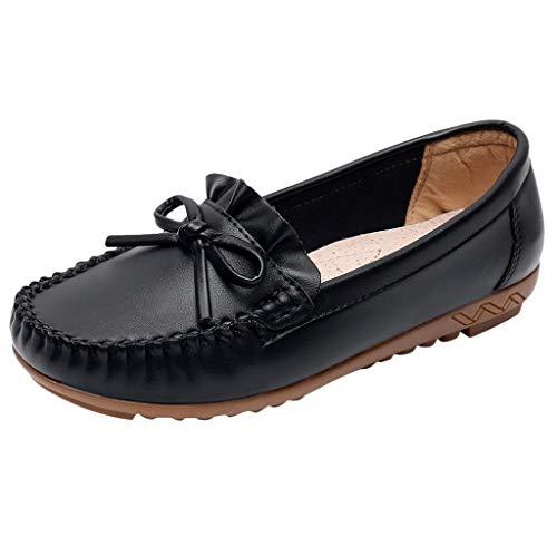 Damen nautisch breite Füße Leder Smart Loafer Bowknot Mokassin Flacher Slip On Comfort-Schuh Runde Zehe Geschlossene Zehensandalen PU-Leder Bootsschuhe Größe 4-7