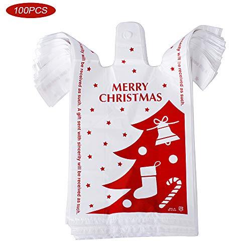 100pcs Bolsas Plástico para Regalos con Asas (18 * 10 * 35cm) Bolsas Camiseta Plastico Bolsas de Compra para Halloween Navidad Fiestas Tiendas Caramelos Galletas (Navidad, 100pcs)