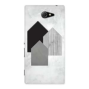 Impressive Black Grey White Back Case Cover for Sony Xperia M2