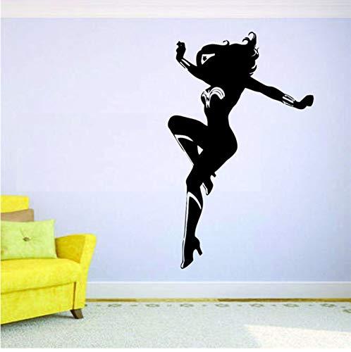 Wonder Woman Wandbild Vinyl Aufkleber Aufkleber Decor Comics Super Hero Girl Film Zitat Art Decor Home Decor Abziehbilder 58x35 cm -