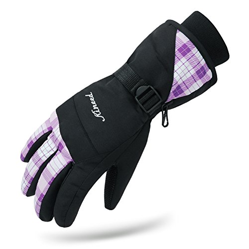 KINEED Wasserdicht Winter Skihandschuhe Snowboard Radfahren Handschuhe Damen Violet