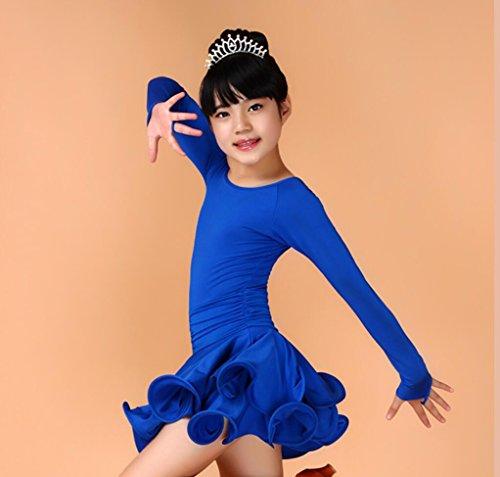 Latin Tanzwettbewerb Kleidung weibliche Kinder lateinischer Tanzrock Kostümtanz Kostümwettbewerb gelb / rot / blau / schwarz , 130cm , (Dance Kinder Latin Kostüme)