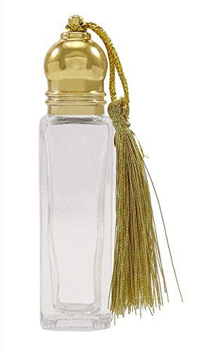 Lot von 12 Großhandel nachfüllbare Aroma Leer Klarglas Roll On Attar Flaschen Ätherische Öle Golden Cap Parfüm Quadrat Flasche 8 ML