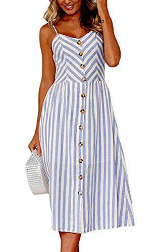 Angashion Damen V Ausschnitt Spaghetti Buegel Blumen Sommerkleid Elegant Vintage Cocktailkleid Kleider, Größe: XL, Farbe: 0895 Blau Blume Kleid Kleider