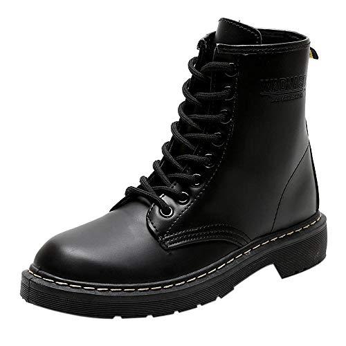 MYMYG Frauen Boots Warmer Wandern Schneeschuhe Mode Frauen England Stil Leder Stiefel Madeline Schuhe Motorradstiefel Kurzschaft Stiefeletten