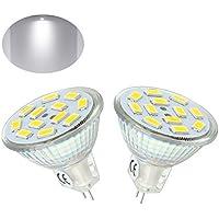 Bonlux 2-Pack 2W MR11 GU4 lampadina principale bianco freddo 6000K 12 Volt 20W sostituzione 120 gradi MR11 G4 / GU4.0 LED Spot per la casa, Paesaggio, da incasso, illuminazione della pista