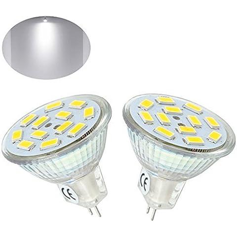 Bonlux 2-Packs 2W MR11 LED gu4 bulbo blanco fresco 6000K 20W halógena de 12 voltios 120 grados de reemplazo MR11 G4 / GU4.0 LED luz del punto de inicio, paisaje, empotradas, iluminación de la pista
