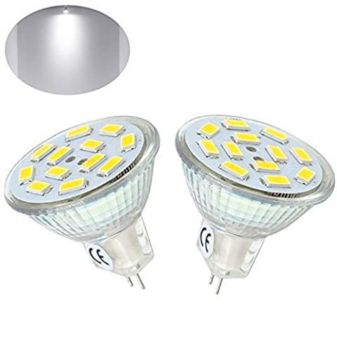 Bonlux 2-Packs 2W MR11 GU4 LED Bulb Cool White 6000K 12 Volt 20W Halogen Replacement 120 Degrees MR11 G4/GU4.0 LED Spot Light for Home, Landscape, Recessed, Track Lighting
