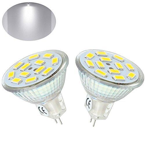 Bonlux 2-Packs 2W MR11 GU4 LED-Birnen Kaltweiß 6000K 12 Volt 20W Halogen Ersatz 120 Grad MR11 G4 / GU4.0 LED-Spot-Licht für Haus, Landschaft, eingelassene , Schienen-Beleuchtung -